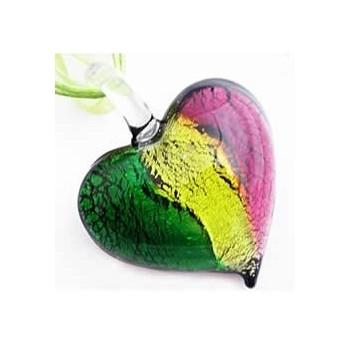 Glas hjerte grøn med blomst 21 mm - 1 stk