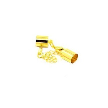 Låsesæt med enderør guld indvendigt -  hul 5 mm