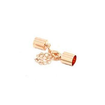 Låsesæt med enderør rosenguld indvendigt -  hul 5 mm
