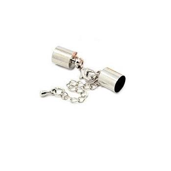 Låsesæt med enderør sølv indvendigt -  hul 5 mm