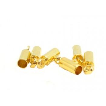 Enderør messing med guld 2mm mål - 6 stk
