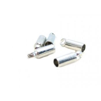 Enderør messing med sølv 2mm mål - 6 stk