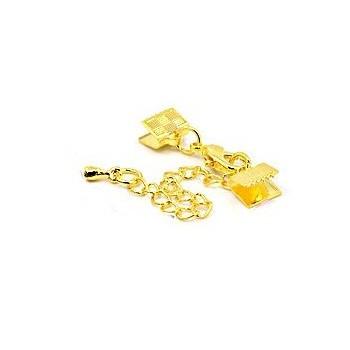 Låsesæt med klemme enderør guld 8mm - 1 sæt