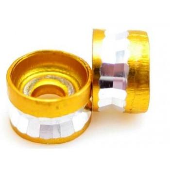Guld metal perle med diamnat skæring 6 mm - 2 stk