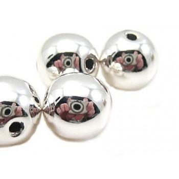 Voks perle 8 mm - sølv - 8 stk
