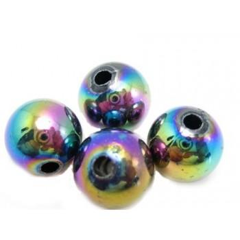 Regnbue perle 6 mm - 8 stk