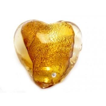 Glas hjerte brun 12 mm - 2 stk