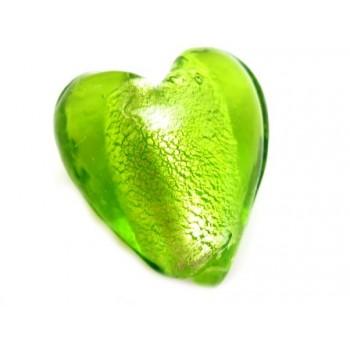Glas hjerte grøn 12 mm - 2stk