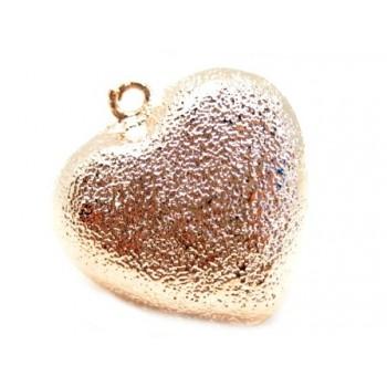 Rosen guld,  børstet hjerte 25 mm