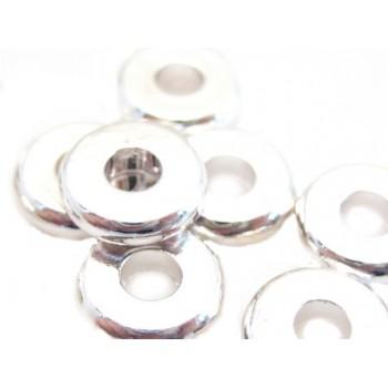 Mellem rondel skive 5 / 2 mm sølv belagt  - 8 stk
