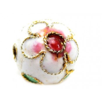 Cloisonne rund 12 mm hvid