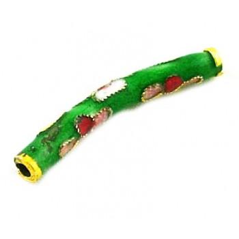 Cloisonne rør med bue 25 mm grøn