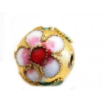 Cloisonne rund 10 mm guld -
