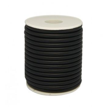 Sort gummi snøre rund 4 / 1,5 hul - 1 m