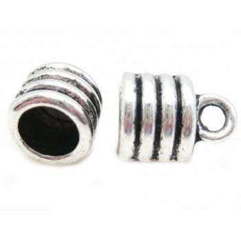 Enderør i Tibetansk sølv - 7mm indv - 2 stk