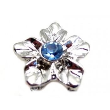 Sølv blomst med lye blå...