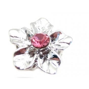 Sølv blomst med rosa sten...