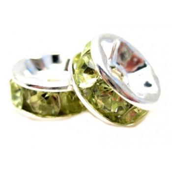 Sølv fs rondel 8mm - grønne...