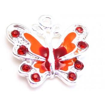 Sommerfugl rød og orange 22 mm