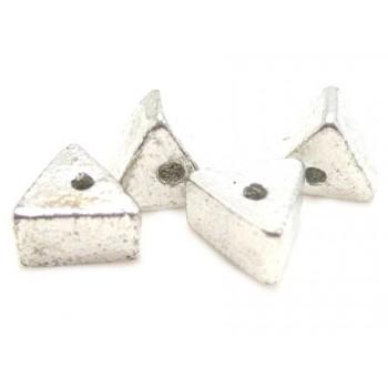 Trekantet sølv perle - 3 stk
