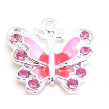 Sommerfugl rosa og pink 22 mm