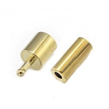 Messing lås med enderør  5 mm indvendig hul - 1 sæt