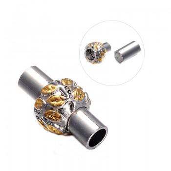 Smart magnet låsmed blad mønster sølv 16 / 3,5 mm