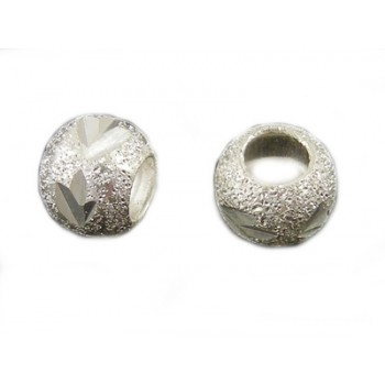 Sølv stardust med diamant skæring 6 / 3 mm - 4 stk