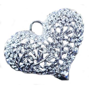 Smukt filligran sterling sølv belagt hjerte 32 mm