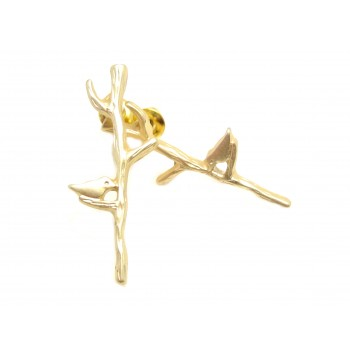 Ørestikker med fugl på gren - 26 mm - guld