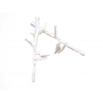 Ørestikker med fugl på gren - 26 mm - sølv