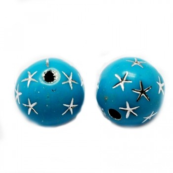 Tyrkis  med stjerne 10 / 2 mm - 10 stk