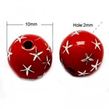 Rød  med stjerne 10 / 2 mm - 10 stk
