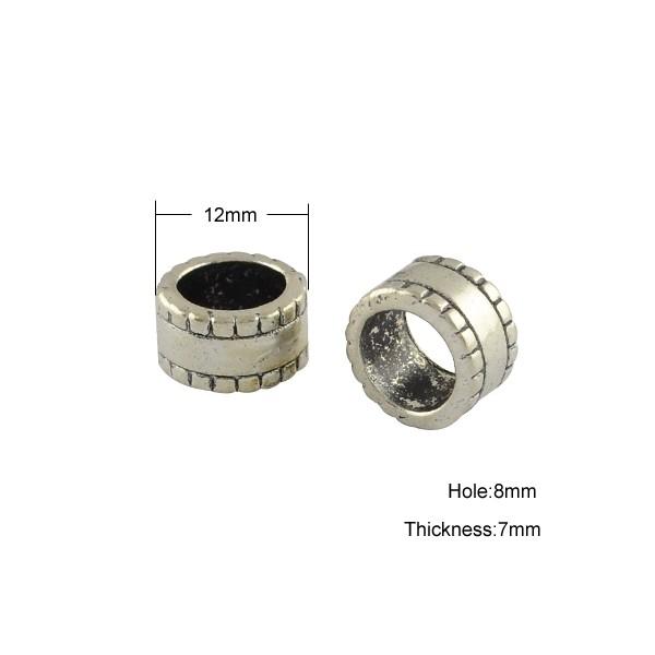 Perle med stort hul 12 / 8 mm sølv - 1 stk