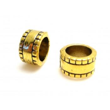 Perle med stort hul 12 / 8 mm guld - 1 stk