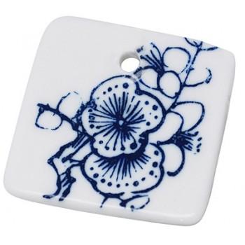 Musselmalet - Porcelænsfirkant 34 x 34 /3 mm