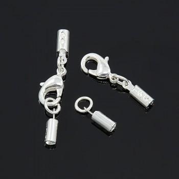 Låsesæt med enderør sølv indvendigt - hul 2 mm
