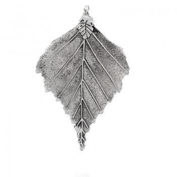 Smukt stort sølv blad 78 mm