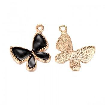 Guld sommerfugl vedhæng med sort emalje 23 mm