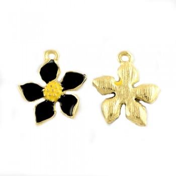 Smuk blomst i guld med sort emalje 20,5 mm