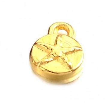 Vedhæng med stjerne guld 6,5 mm - 2 stk