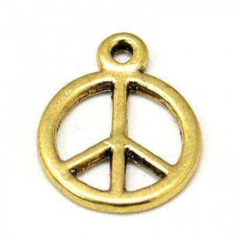 Peace tegn antik guld 13 mm - 4 stk