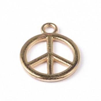 Peace tegn guld 15 mm - 2 stk