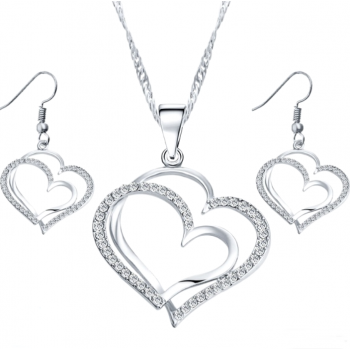 Hjerte halskæde og øreringe med stene