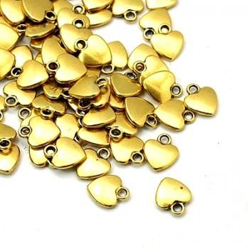 Hjerte gylden 12 mm - 3 stk