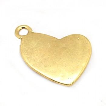 Skævt gyldent hjerte 18 mm - 2 stk