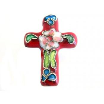 Cloisonne kors rød - 2 STK
