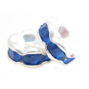 Sølv fs rondel 6mm - blå...