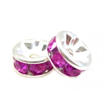 Sølv fs rondel 8mm - pink...
