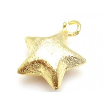 Børstet guld stjerne 12 mm...
